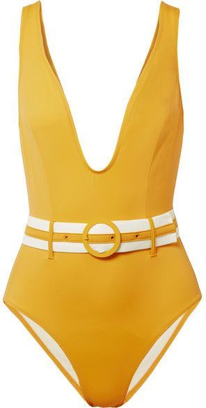 8626b902acf34 Solid and Striped - The Victoria Belted Swimsuit - Mustard