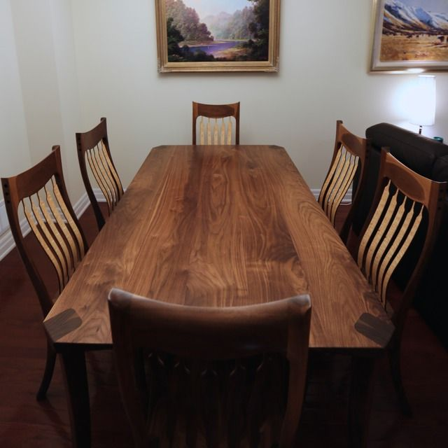 Bespoke Walnut Birdseye Maple Dining Table Chairs  Designed And Custom Maple Dining Room Table Design Inspiration