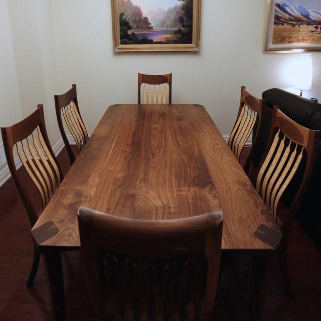 Custom Bespoke Walnut Birdseye Maple Dining Table Chairs Walnut
