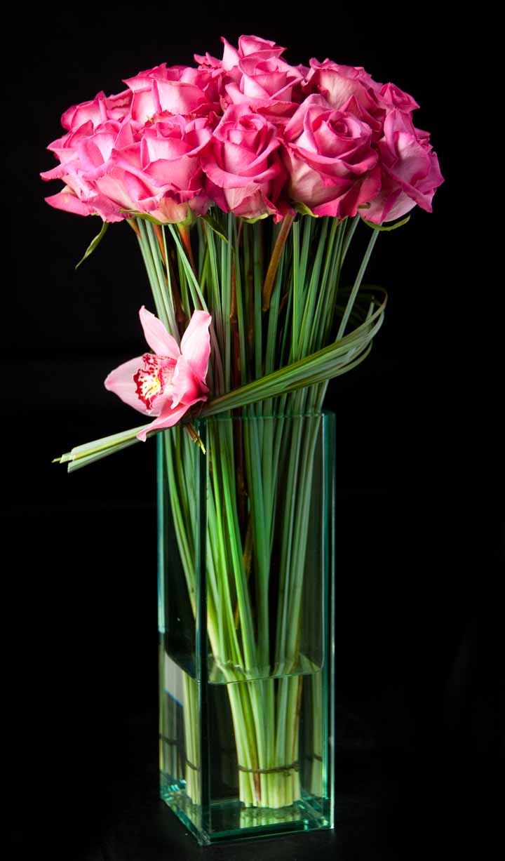 I love the greenery around the rose stems flowers pinterest long stemmed roses is a tall cube vase with orchid and bear grass accent reviewsmspy