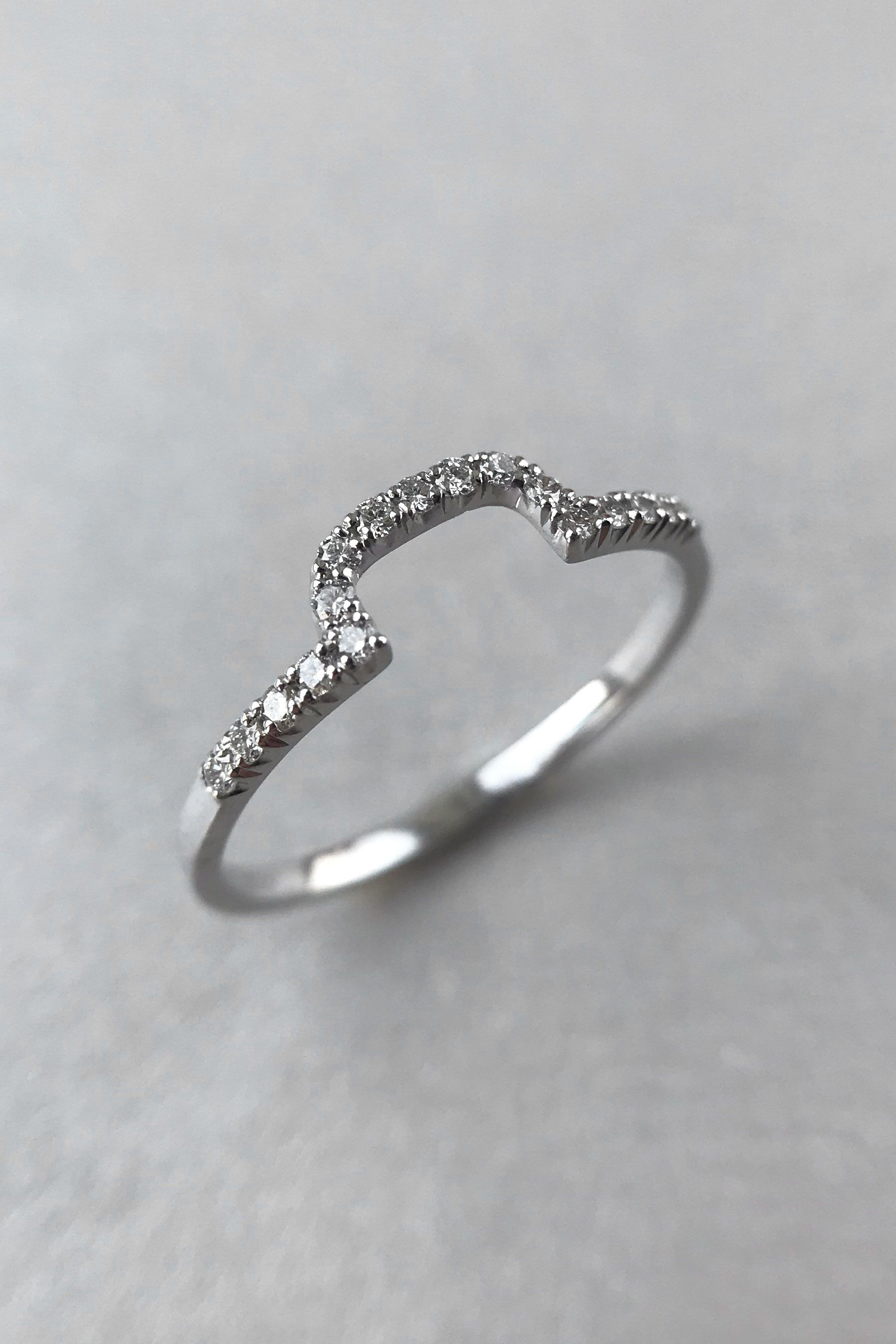 It is a photo of Diamond Curved Wedding Band, Unique Wedding Band, White Gold