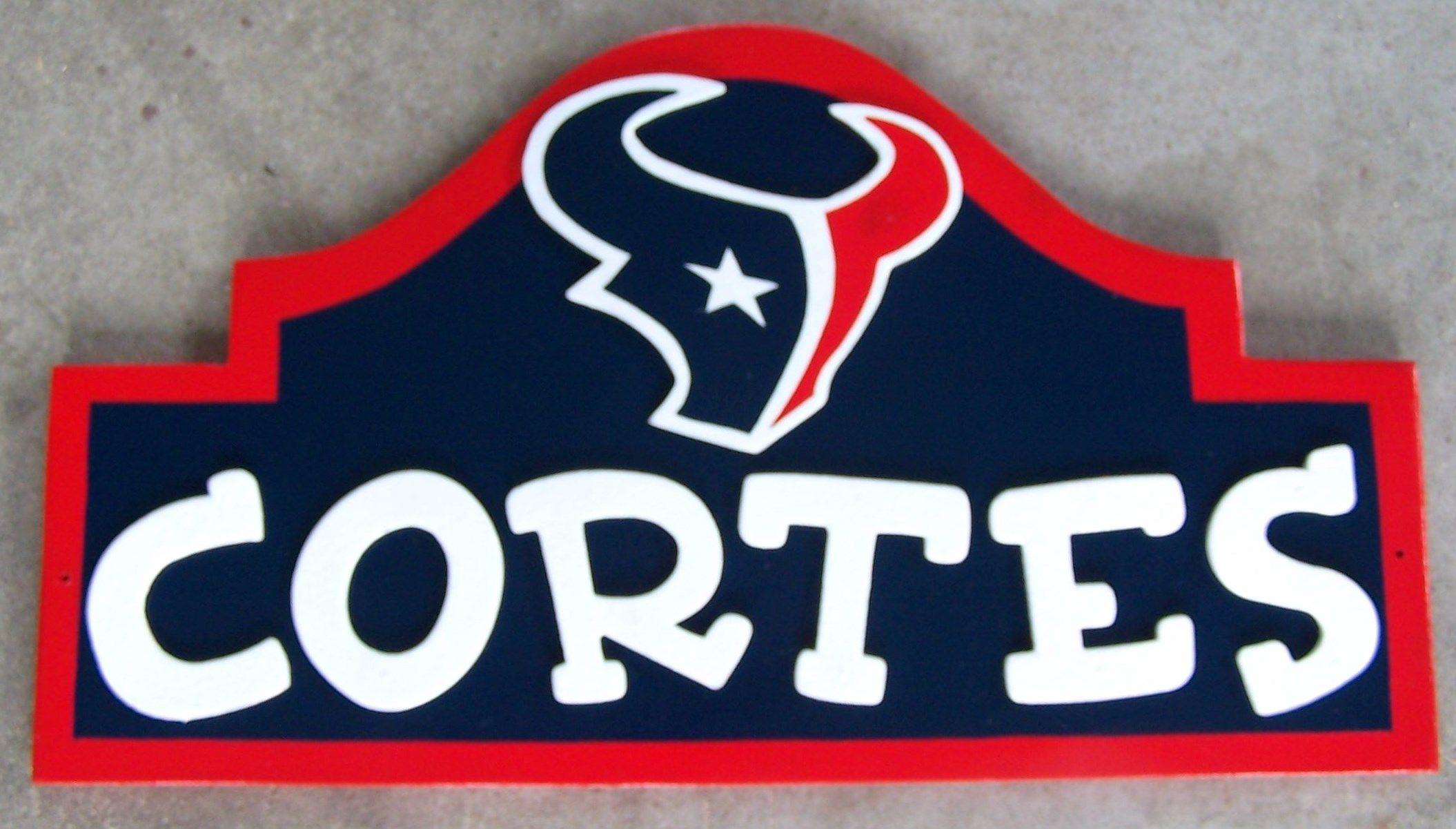 Houston Texans Man Cave Accessories : Houston texans wood decor name sign custom made