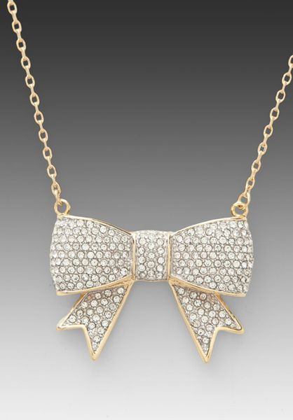 Juicy Couture Gold Pave Bow Necklace <3