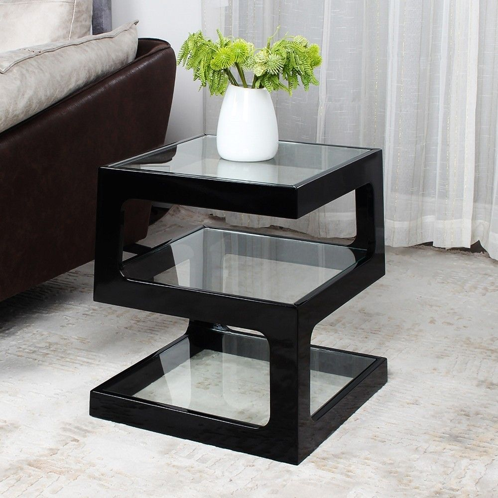 Walnut White Black Modern Unique Square Side Table Storage End Table With Shelf 3 Tier Tempered Glass In 2021 Side Table With Storage Square Side Table End Tables With Storage [ 1000 x 1000 Pixel ]