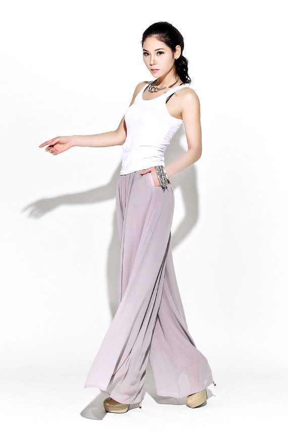 4bf7044d175 Gray Chiffon Palazzo Pants - Elegant Wide-Leg Maxi Pants Long Culottes  Mother-of-the-Bride Wedding Outfit (C114)