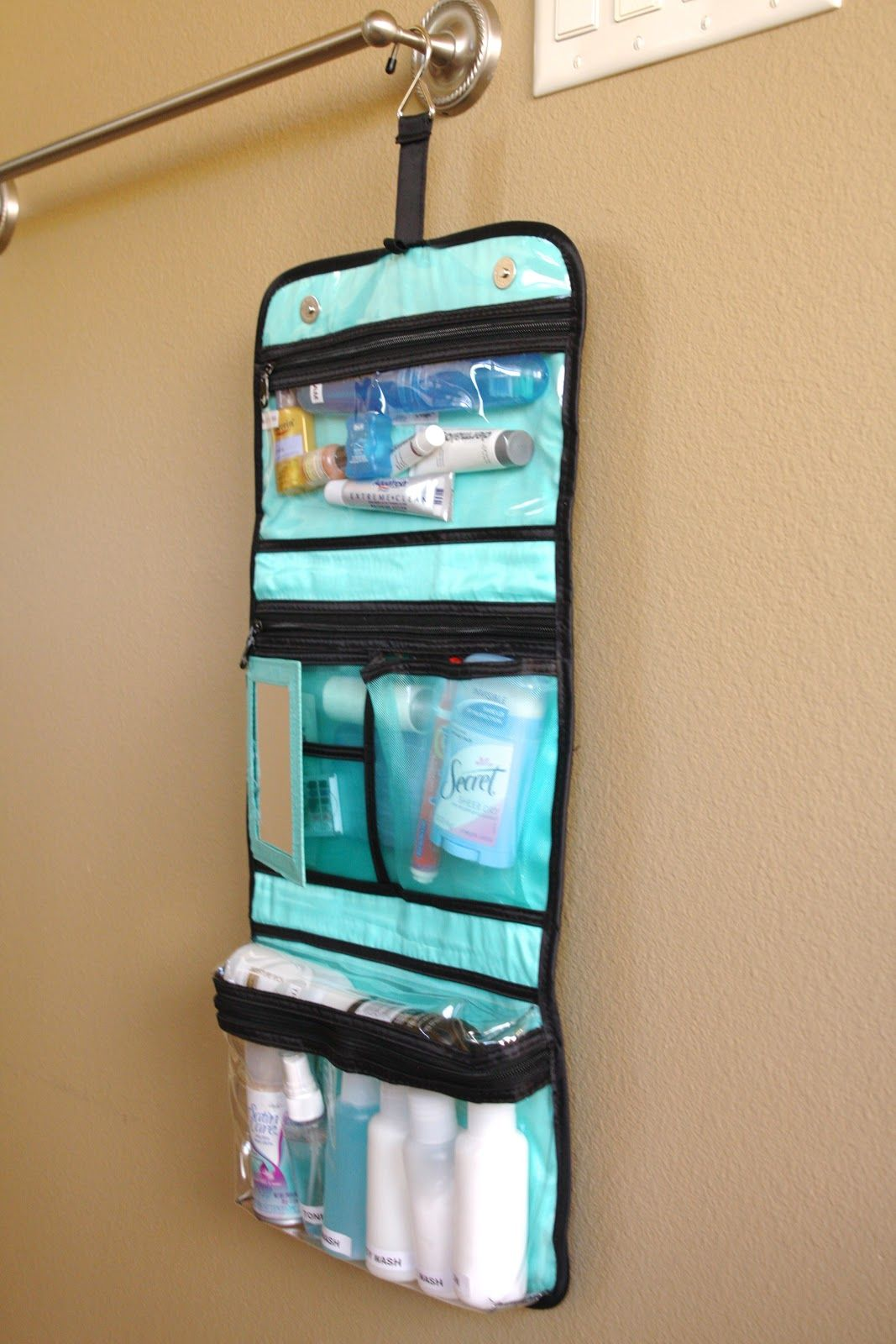 I keep a toiletry bag fully stocked at all times. Just add prescriptions  and contacts to go. Hanging bag is convenient where shelf counter space is  ... 91e483a9b7
