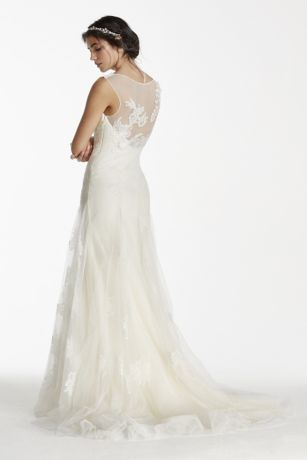 2a3d2ad3f7d1 Walk down the aisle in this breathtakingly romantic illusion tank tulle gown!  Illusion tank bodice decorated with organically placed beaded 3D floral  lace ...