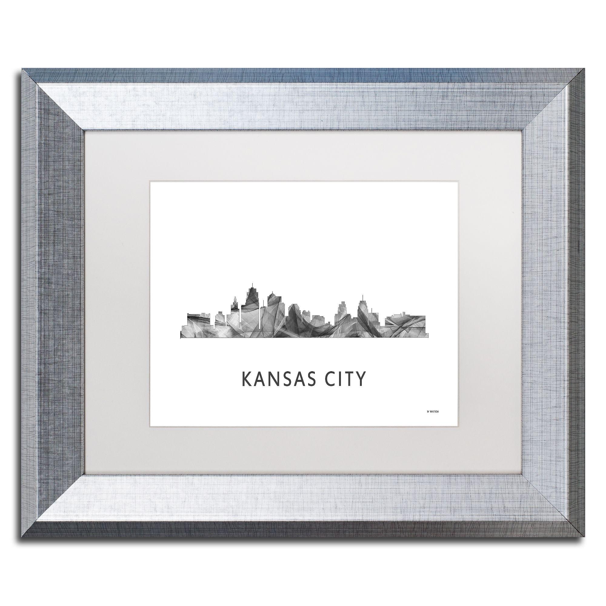 Marlene Watson \'Kansas City Missouri Skyline WB-BW\' Matted Framed ...