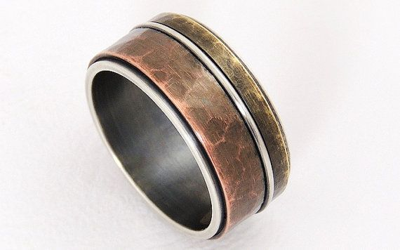 Rustic Mixed Metal Men Ring Wide Band Ringsilver By Gillerijewel