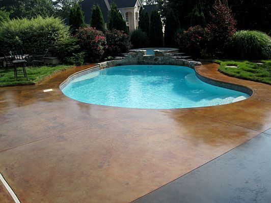 Acid Stained Concrete Pool Deck New House Pinte