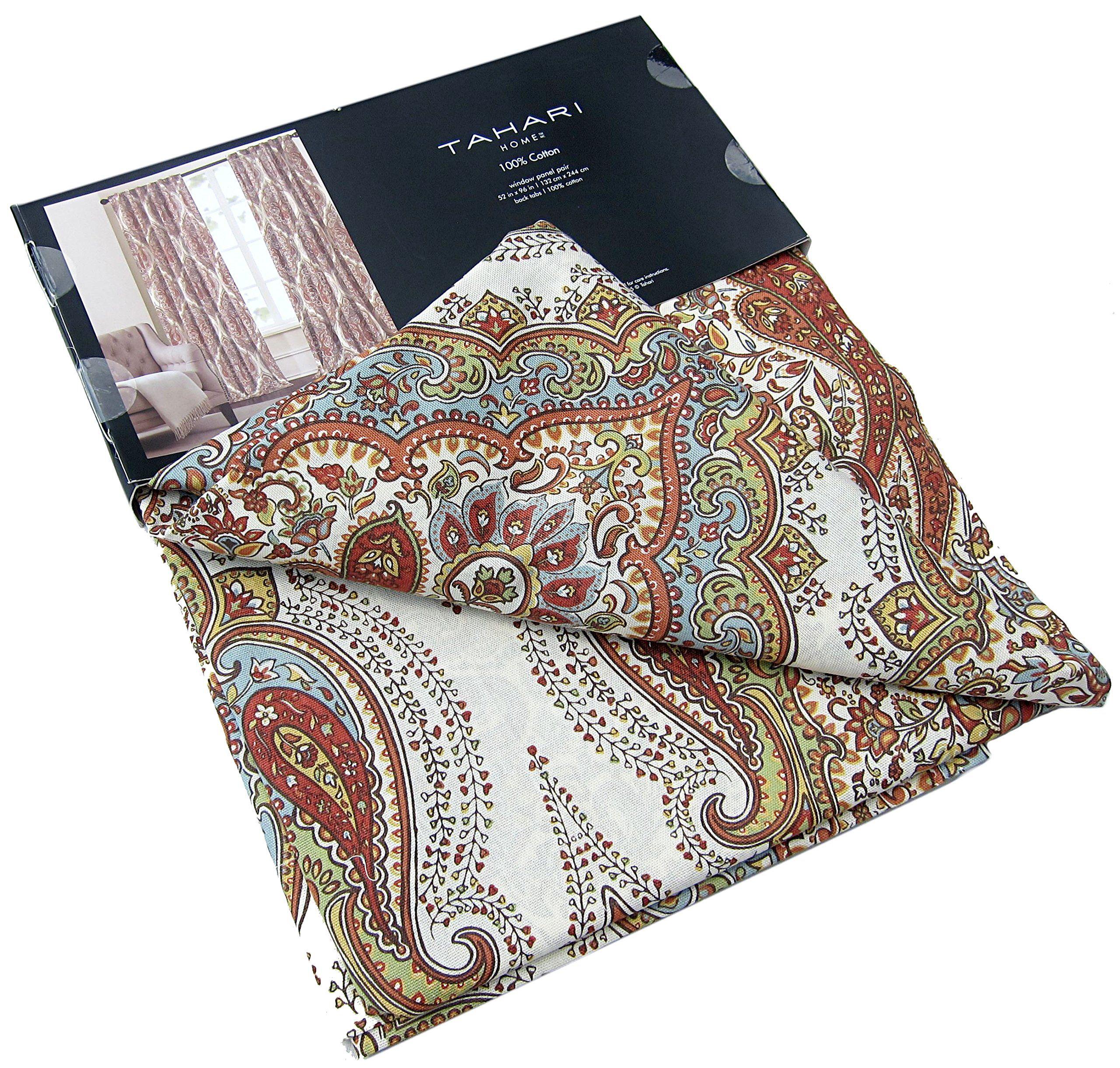 Tahari Home Paisley Scrolls Window Panels 52 By 96 Inch Set Of 2