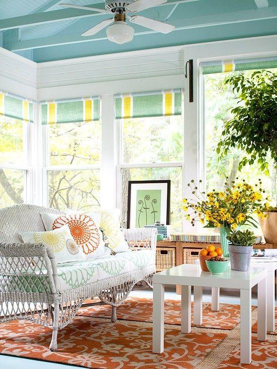 Pretty Sun Porch Love The Paint Colors And Orange Accents