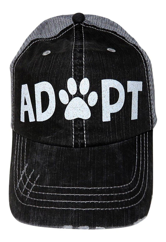 a5cfa066f6a43 White Glitter Adopt Paw Print Mom Grey Trucker Baseball Cap Animal Dog Cat  - C117YQ2Q322 - Hats   Caps