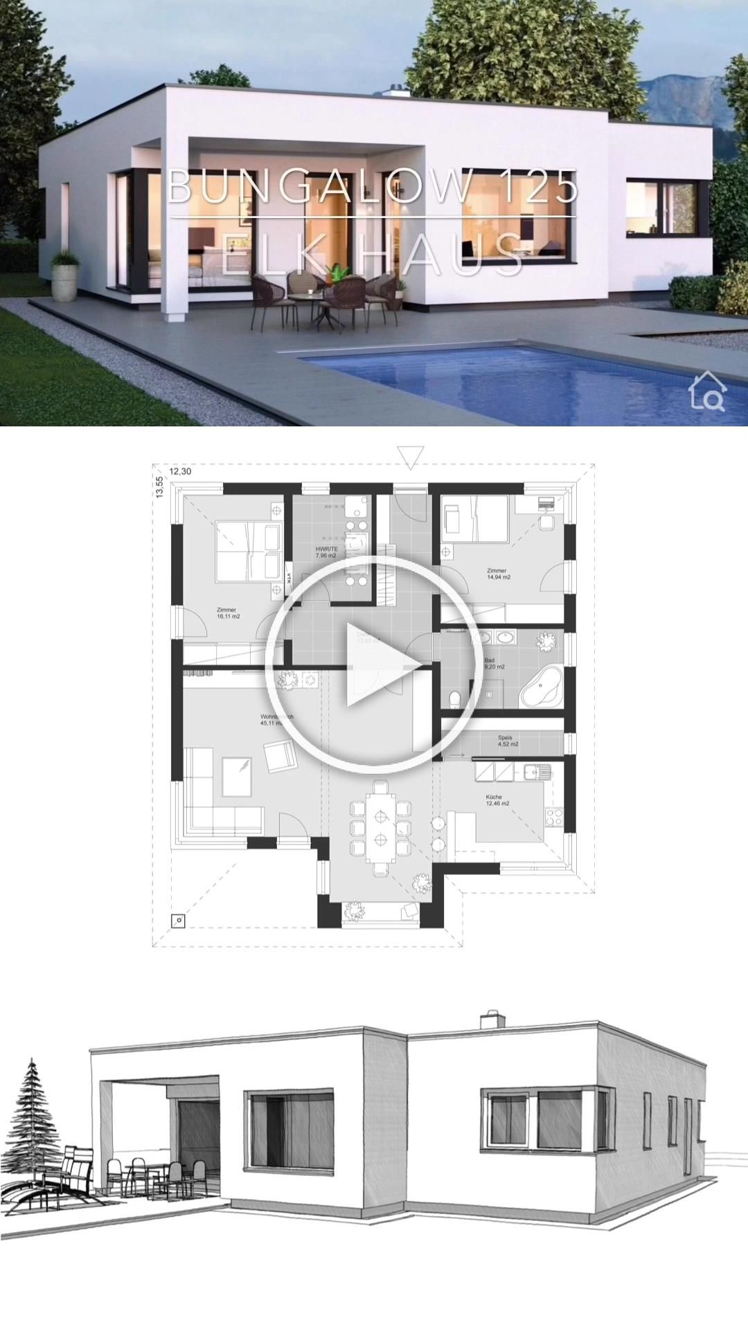 Bungalow House Plans One Level With Open Floor Modern Contemporary European Minimalist Style Bungalow House Plans House Construction Plan Modern Bungalow House