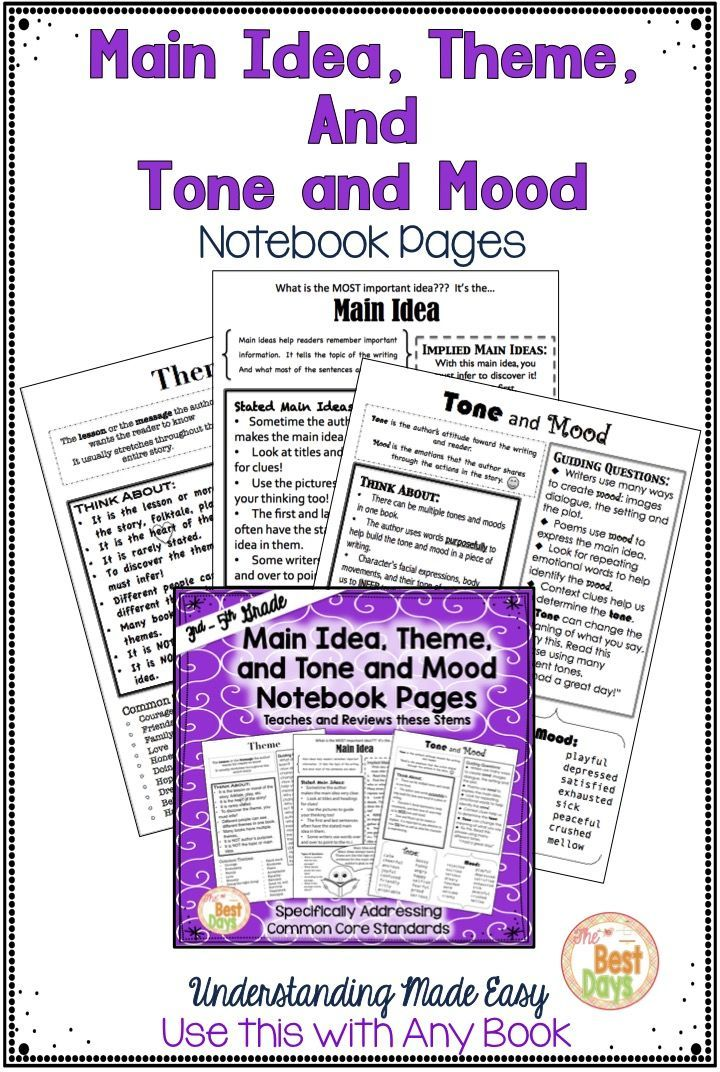 main idea tone and mood and theme student notebook pages