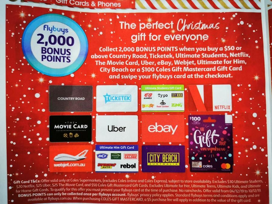 2 000 Flybuys Worth 10 With 50 Gift Cards Ebay Netflix Uber Ticketek 100 Coles Mastercard More Coles 50th Gifts Gift Card Mastercard