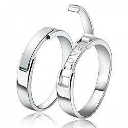 New Korean Style Love Theme 925 Sterling Silver Lovers Rings (Price For a Pair) - USD $53.95