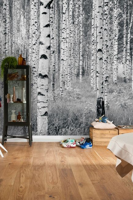 Wallpops Panoramic Birch Forest Panel Wall Art Forest Wall