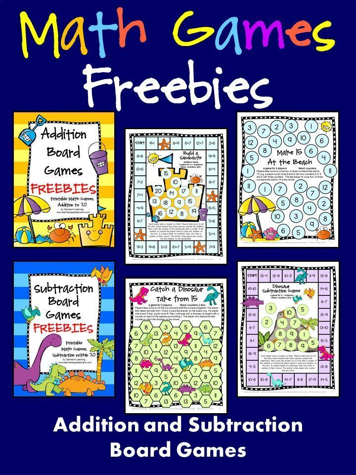 FREEBIES! Addition and Subtraction Math Board Games - Just print and ...