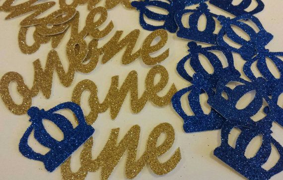 Royal Little Prince Crown confetti with script ones confetti for 1st birthday party use on invitations or table decor