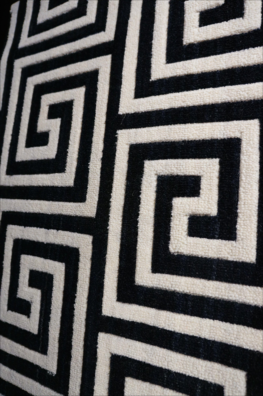 Black And White Greek Key Rug Carpet Stairs