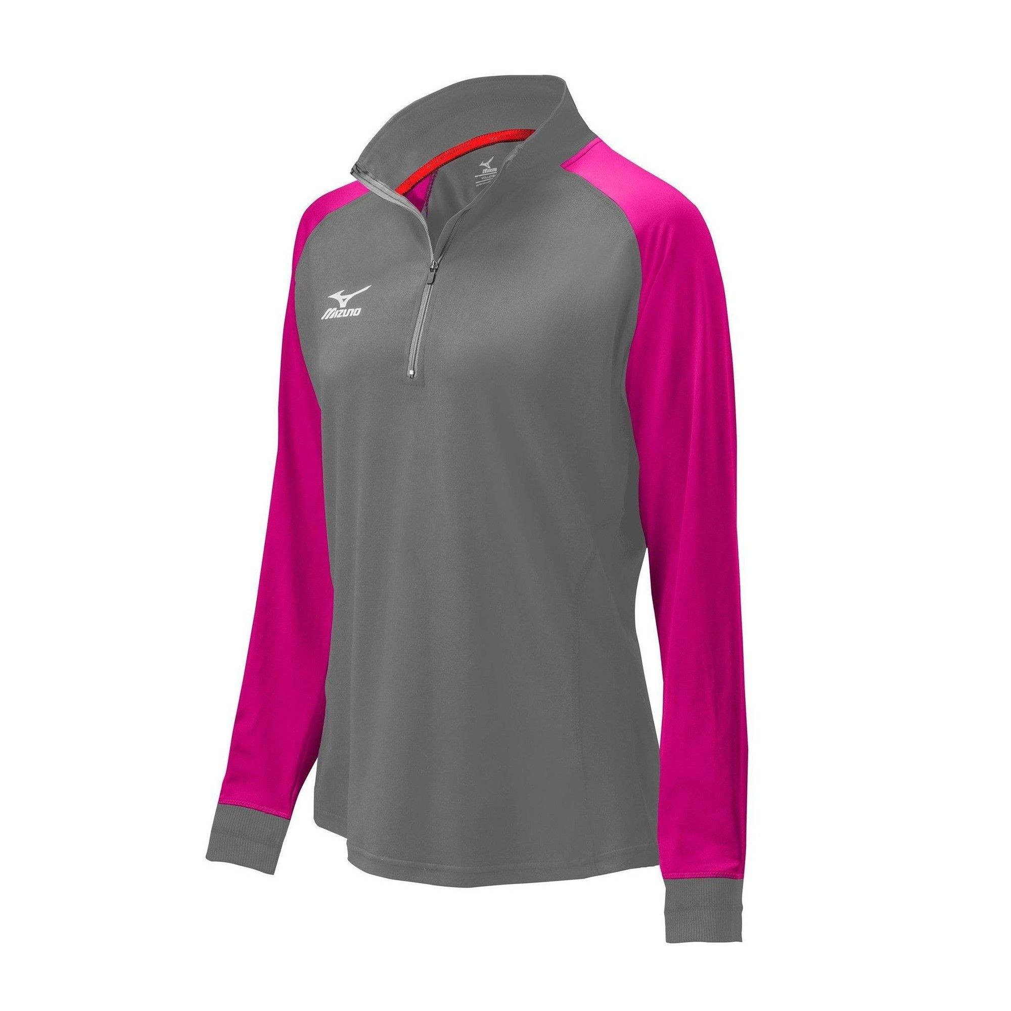 Mizuno Women S Prime 1 2 Zip Jacket Womens Size Extra Small In Color Charcoal Shocking Pink 921m Products Jackets For Women Volleyball Outfits Jackets