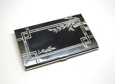 Very nice antique national overture pattern sterling silver teaspoon 2002 tiffany co sterling silver business card holder case leaf pattern design colourmoves Images