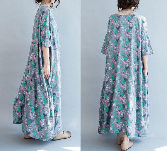 linen dress plus size/women linen loose dress/linen by babyangella