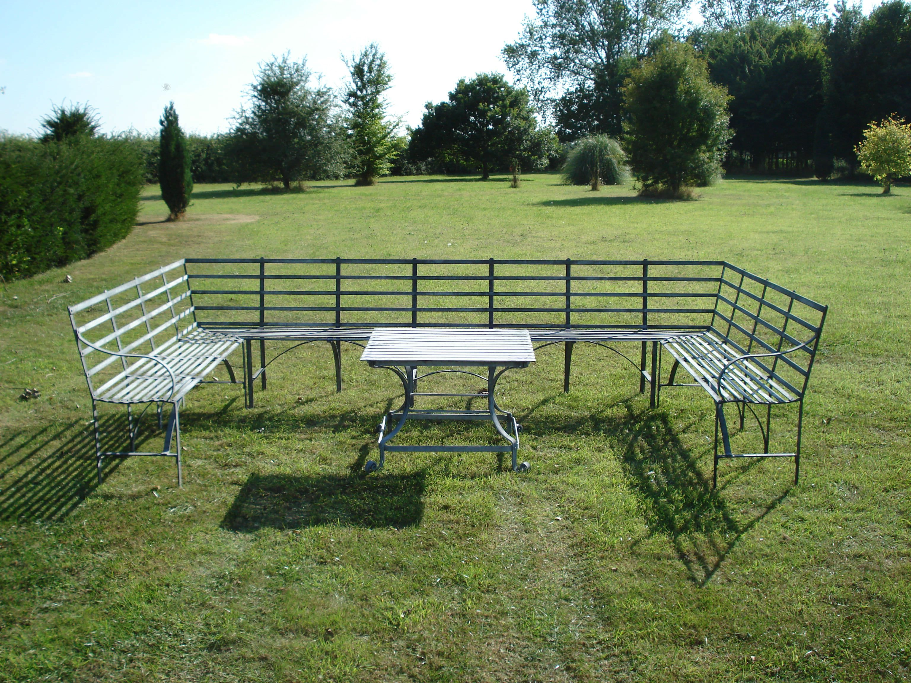 Garden Metal Furniture. Garden Furniture, Metal Bench And Table, Made In  Bury St