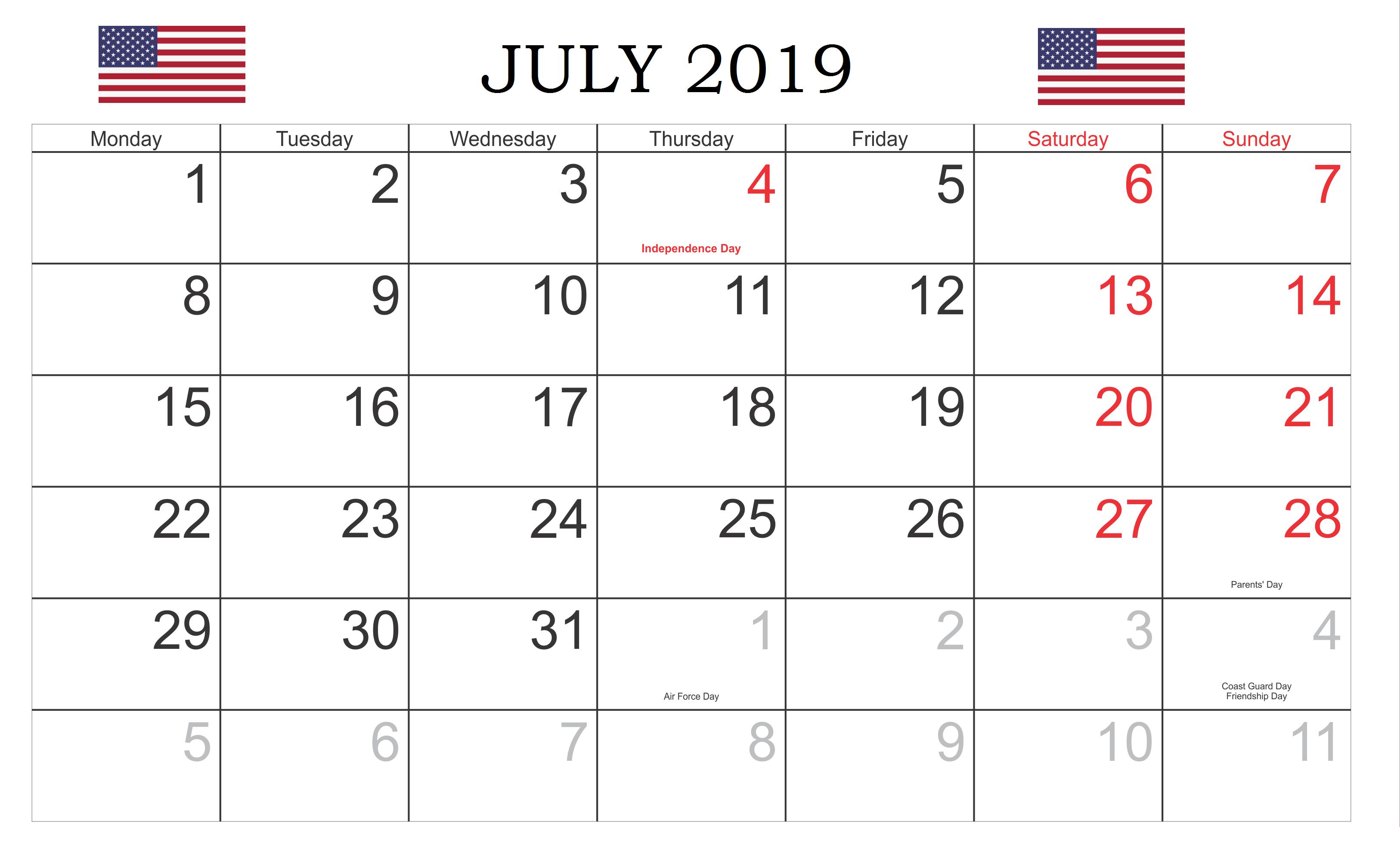 July 2019 USA Holidays Calendar Local and Federal