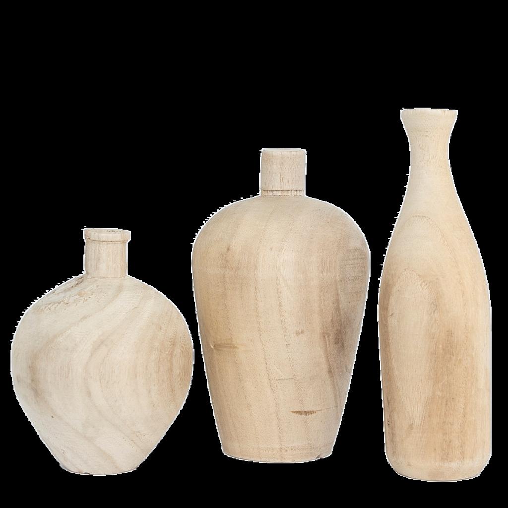 Natural Wooden Vases Set Of 3 Wooden Vase Vase Wood Vase