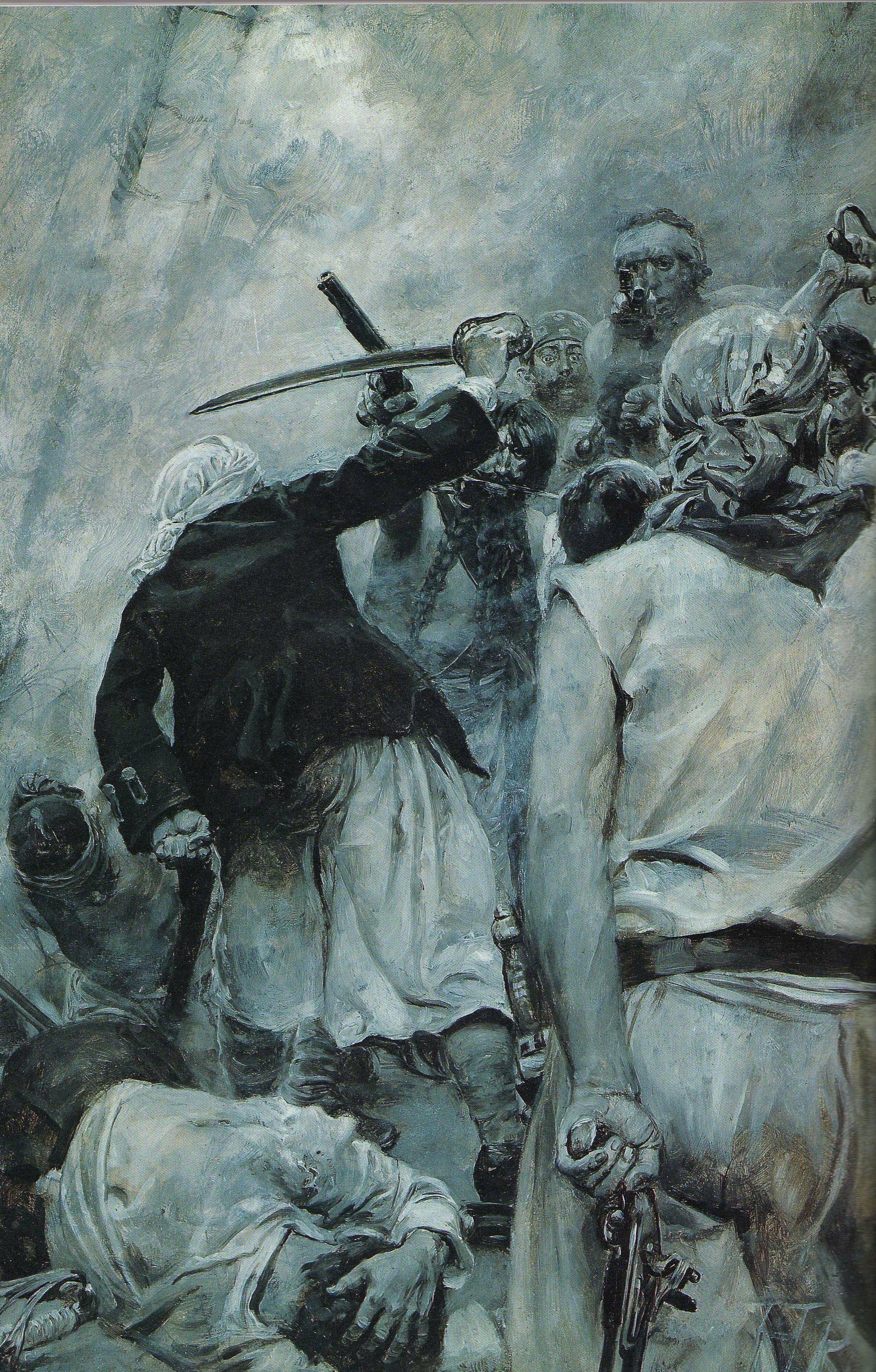 Le dernier combat de Barbe-Noire, huile sur toile, Howard Pyle