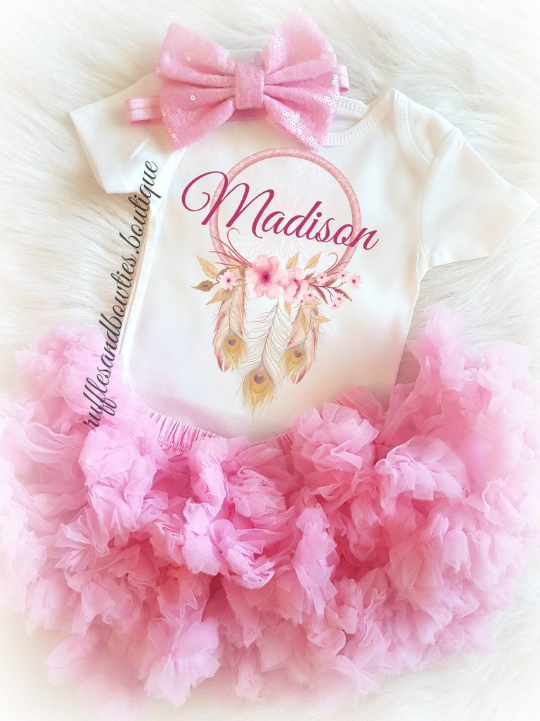Boho Soft Pink Dream Catcher Customized Onesie | Niña recién nacida ...