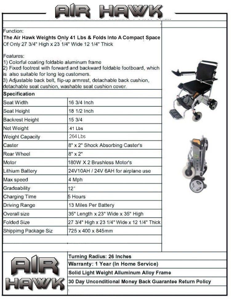 Lightweight Electric Wheelchair. The Air Hawk Folding