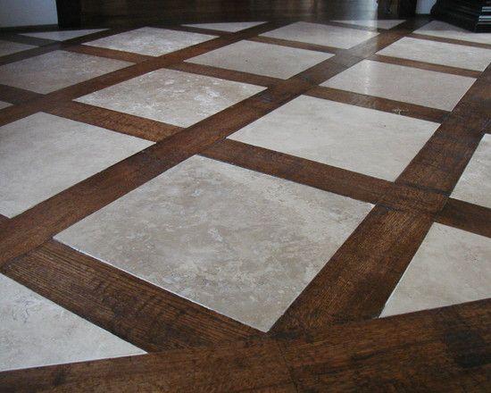 Tile and Hardwood Floor Combo   Wood floor design, Floor ...