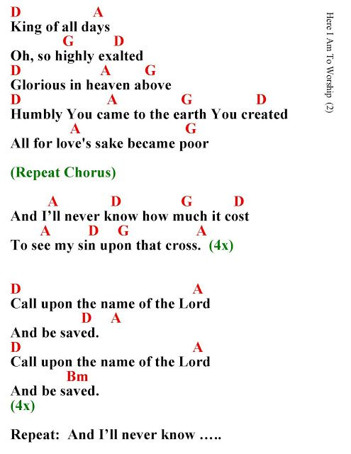 Here I AM to Worship Lyrics and Chords Take a look at the Immanuel ...