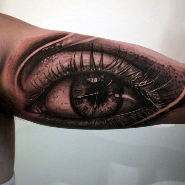 Magnificient grey eyes clock with0huge lashes tattoo mens for Eye with clock tattoo