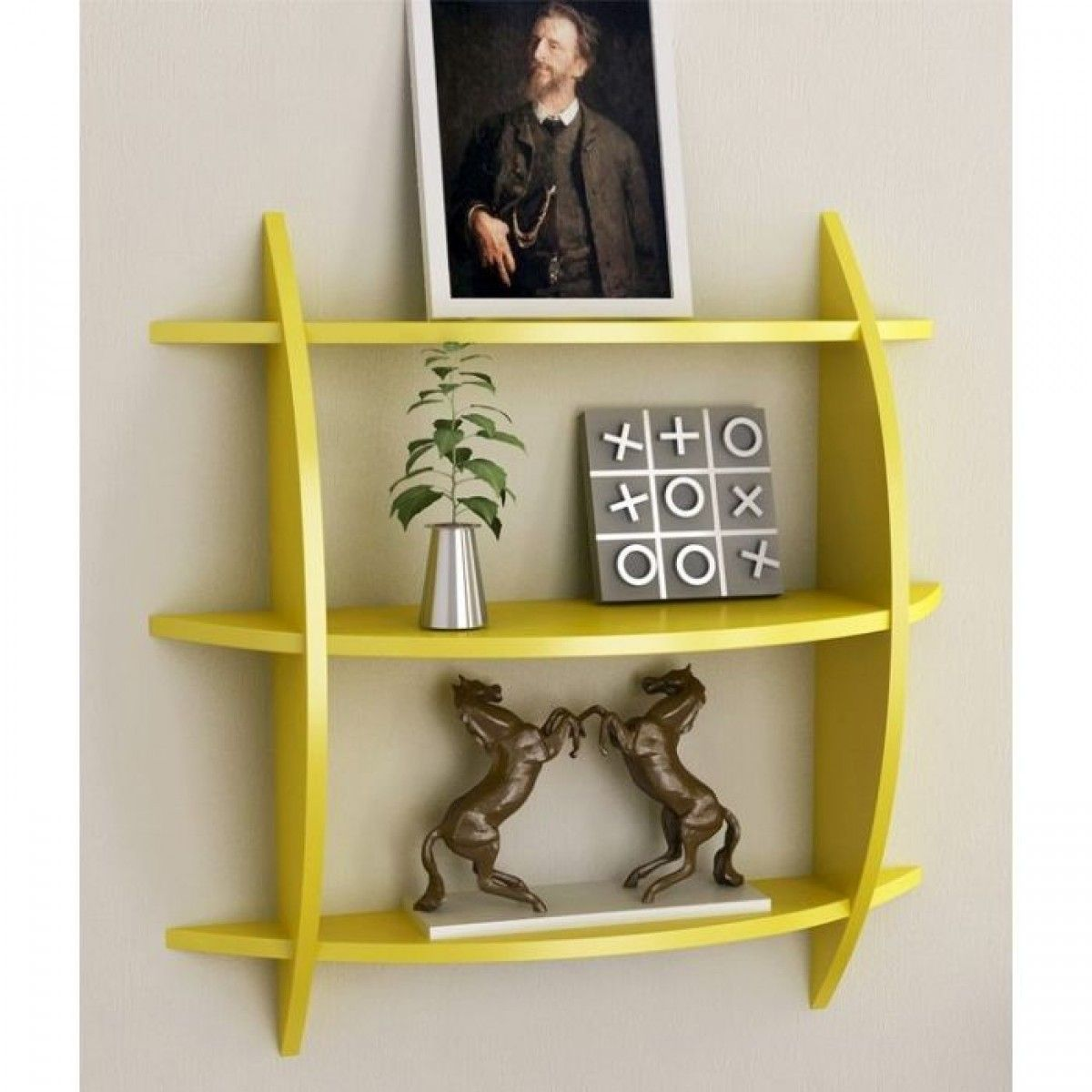 Wall Shelf Home Decor : Pee beautiful yellow tier wooden wall shelves