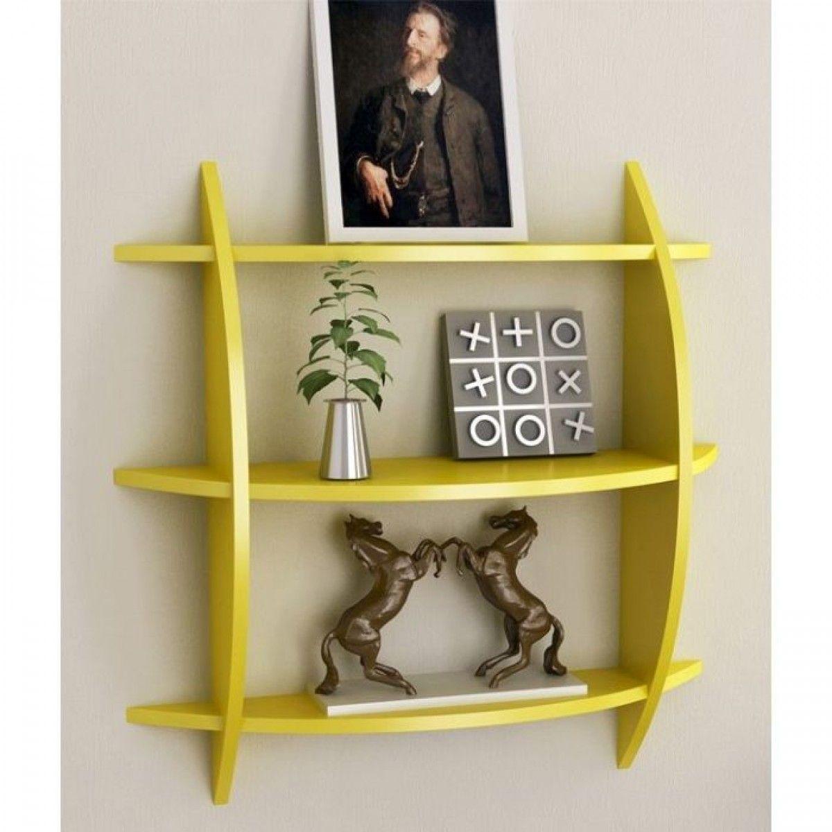Wall Shelf Home Decor : Pee beautiful yellow tier wooden wall shelves