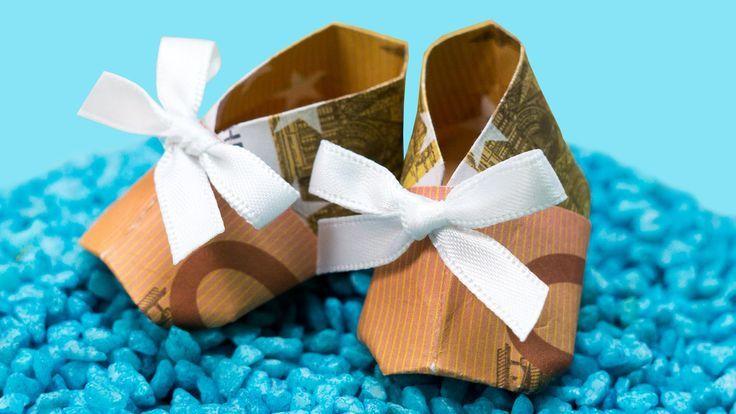 Geschenke zur GEBURT, Geldgeschenkidee zur TAUFE, Babyschuhe falten