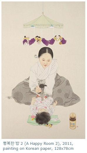 """A happy room / painting on korean paper / Sunmi Shin""  - traditional + modern + warm + humorous"