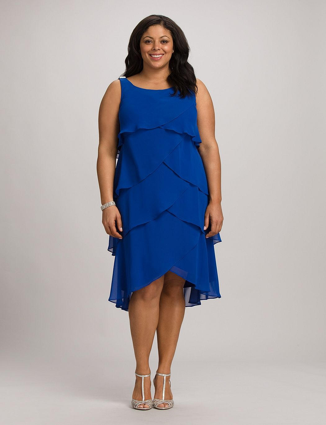 Plus Size | Dresses | Plus Size Tiered Crystal Shoulder Dress ...