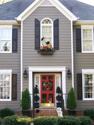 Love The Charcoal Grey With Black Shutters And Red Door By Rhinec