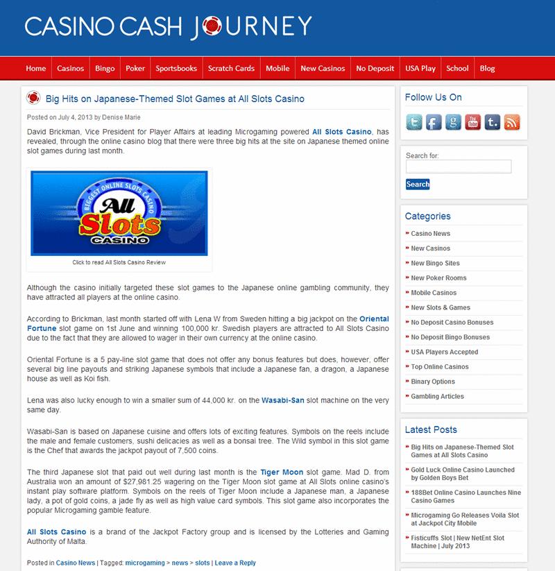 Visit http://blog.casinocashjourney.com/2013/07/04/all-slots-japanese-theme/ to learn more on June's slot winners at All Slots Casino.