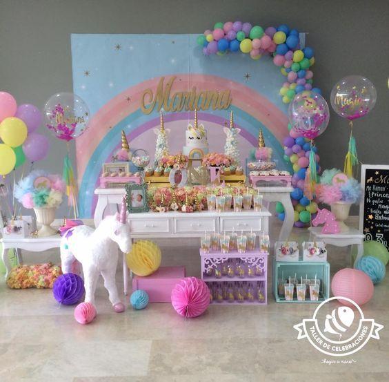 Decoracion De Mesa Principal Fiesta De Unicornio 2 Cumple Gianna - Decoracion-mesas-fiestas