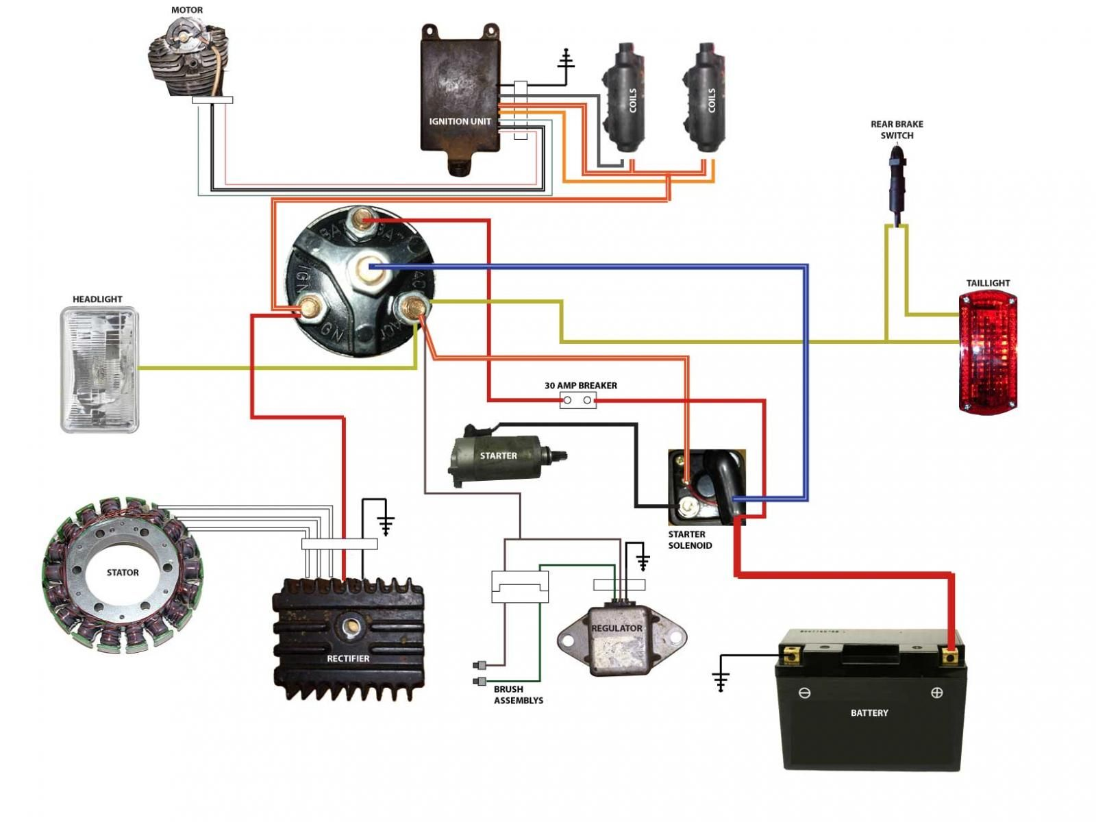 simplified    wiring       diagram    for xs400 cafe      Motorcycle       wiring        Motorcycle    battery  Cafe racer parts