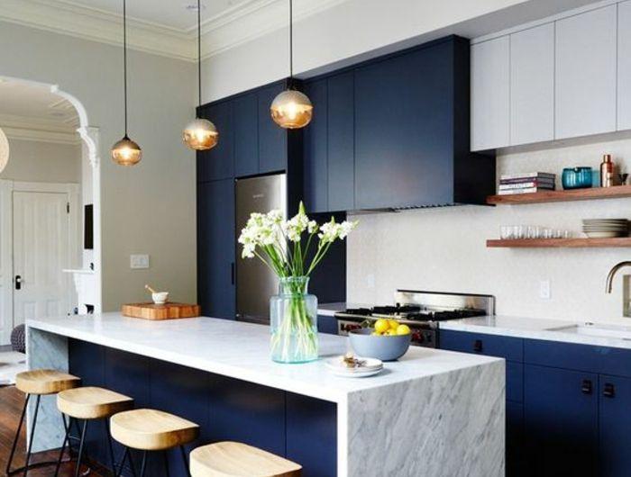 1001 Idees Pour Une Cuisine Bleu Canard Les Interieurs Qui Font Un Grand Effet Cuisine Moderne Meuble Cuisine Repeindre Les Armoires De Cuisine