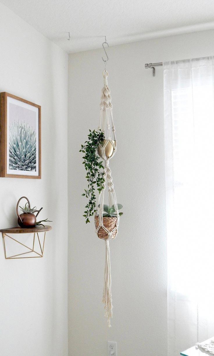 Double Macrame Plant Hanger, Hanging Planter, Vertical Garden, Indoor Plant Stand -   19 diy Interieur plants ideas