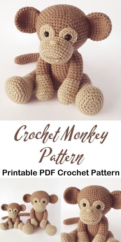 Make a cute monkey toy. Monkey crochet patterns- toy crochet pattern- Amigur …