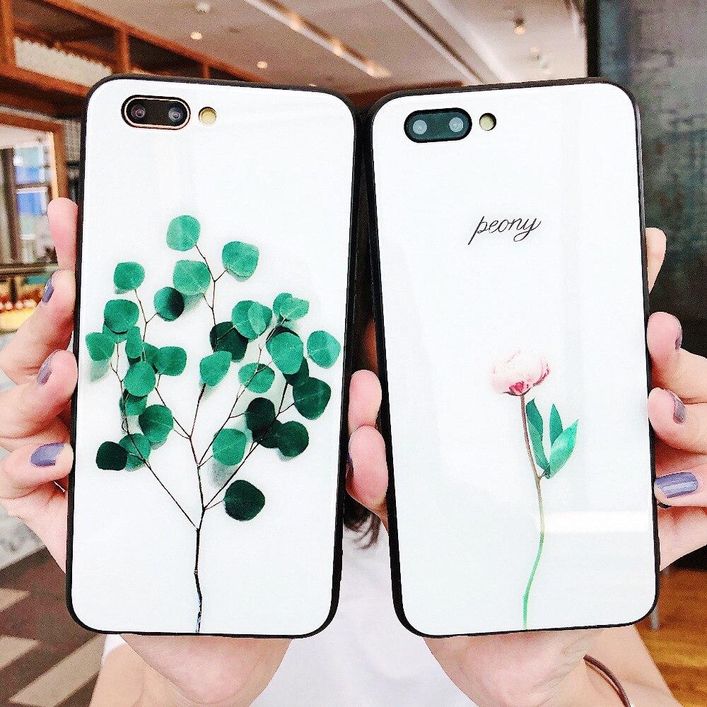 Für Oppo R11 Anti-Fingerabdruck-Rückseite aus gehärtetem Glas für OPPO R9S R11s Plus-Hülle Luxus-Handyhüllen mit rosa Rose   – Google Oppo Xiaomi Cases